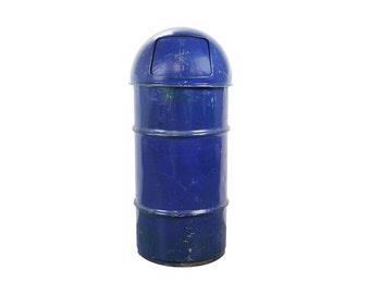 vintage industrial blue metal trash can