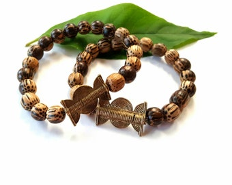 "Men's wood bead stretch bracelet-African pendant bead bracelet- stretch  wood bracelet-The ""Ghana"" bracelet"