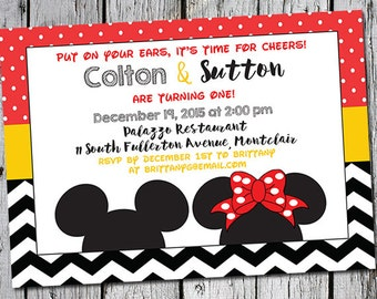 First Birthday Invitation for twins - printable file - 7x5 - Mickey Mouse Minnie Mouse - Disney inspired printer ready invites for 1st party