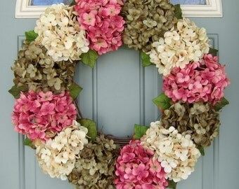Summer Wreath - Wreath for Summer Door - Summer Hydrangea Wreath - Front Door Wreath