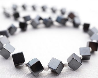Summer Outdoors Hematite Cube Necklace Silver Stardust Beads Geometric Necklace Modern Necklace Steel Gray Metallic Necklace Heavy Stones
