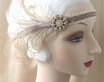 1920s flapper headdress or edwardian headband with antique rhinestones and ivory and brown feathers - Lavinia