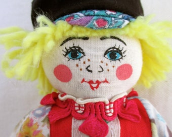 Vintage Doll Cloth Doll Handmade Doll Boy Doll Ribbon Colorful Vintage Fabric Doll Vintage Ribbon Doll by Tatiana in Russia