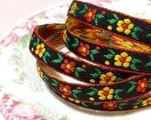 Vibrant Bohemian Jacquard Ribbon, Retro Sewing Trim, Yellow Red Daisies on Black, Flower Power Narrow Jacquard Trim, 1 Yards
