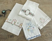 4 Pretty Vintage Embroidered Tea Towels