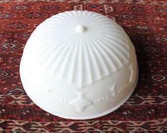 Antique Art Deco Era White Satin Glass Drop Bowl Shade for Ceiling Fixture