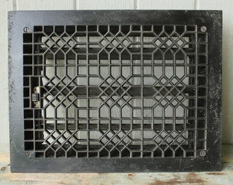 Antique Cast Iron Tuttle and Bailey Heat Register Floor Grates with Louvers 2 Available