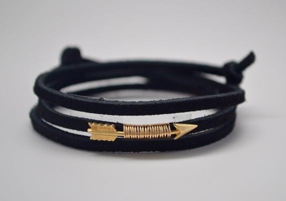 Leather Wrap Bracelet, Arrow Bracelet, Pi Beta Phi Bracelet, Boho Wrap Bracelet, Gold Arrow Bracelet, Angel