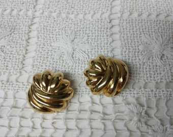 Premier Gold tone Clip  Earrings