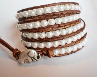 Elephant Bracelet Pearl Jewelry Faux Pearl Cuff Leather Wrap Bracelet