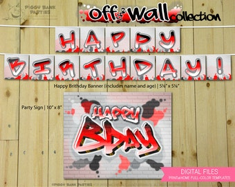 Off the Wall Collection - RMix : Print at Home Birthday Party Decorations | Hip Hop | Graffiti | 80s Party | DIY Printable | Digital Files