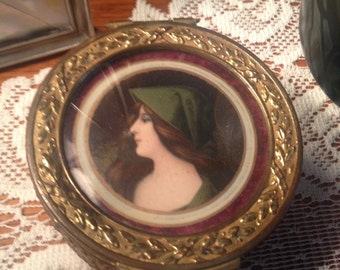 Devine! Antique Hand Painted Miniature Portrait Box FRANCE