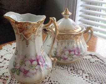 Antique Creamer and Sugar Set