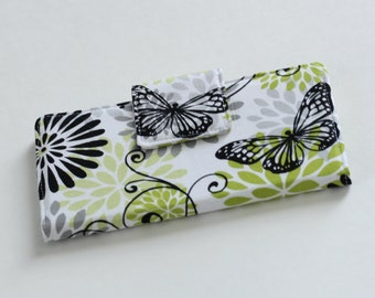 Women's Wallet, Butterfly Wallet in Black and White, Handmade Bifold Wallet in Green Butterfly - READY to SHIP