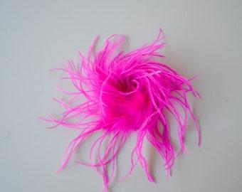 CLEARANCE! Hot Pink Ostrich Feather Puff, Marabou Puff