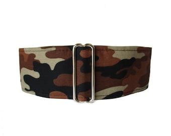 2 Inch Martingale Collar, Camo Martingale Collar, Wide Dog Collar, Camo Dog Collar, Brown Martingale, Greyhound Collar, Brown Dog Collar