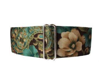 1.5 Inch Martingale Collar, Teal Martingale Collar, Greyhound Collar, Teal, Floral, Floral Dog Collar, Huggable Hound, Wide Dog Collar