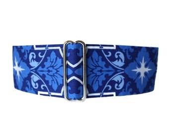 Blue Martingale Collar, 2 Inch Martingale Collar, Blue Dog Collar, Dog Collar for Boys, Greyhound Martingale Collar, Whippet Collar