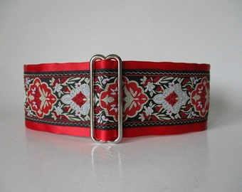 Red Martingale Collar, Christmas Martingale Collar, Christmas Dog Collar, Red Dog Collar, Jacquard Dog Collar, Greyhound Collar