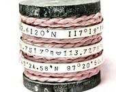 Custom Sterling Silver Coordinate Cuff Bracelet, Personalize Coordinate Bracelet, Wedding Gift, Longitude Latitude, Memory Bracelet
