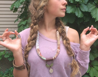 Fiber Necklace, eco jewelry, vintage coin necklace, woven necklace, textile necklace,free people necklace,zen necklace,plum necklace, zasra