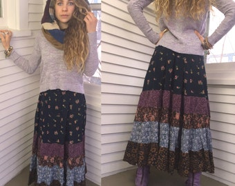 Eco Gypsy SKIRT, sizeXS  eco clothing, hippie skirt, festival skirt,  long boho skirt, rayon skirt,  full skirt, patchwork skirt, Zasra