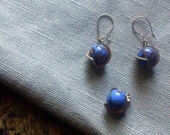 Vintage Venetian Glass Earrings/Pendant Set