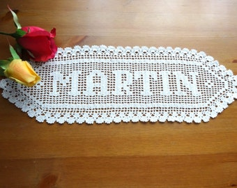 Personalized wedding gift MARTIN name sign wedding gifts crochet white wedding made to order