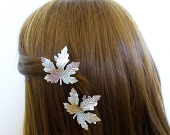 Silver Bridal Hair Clips Maple Leaves Bride Bridesmaid Botanical Garden Autumn Fall Rustic Woodland Wedding Accessories Womens Gift For Her