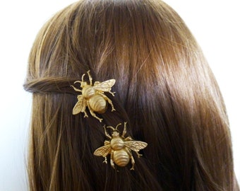Gold Bee Barrettes Bumblebee Girls Hair Clips Nature Garden Bridesmaids Rustic Woodland Wedding Accessories Vintage Style Unique Womens Gift