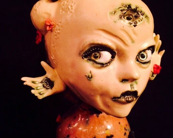 Valentine Mon Amie Anomalie ...OOAK handmade kiln fired stoneware clay mini reliquary art doll figurine with an all seeing eye