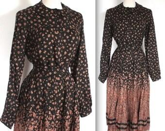Vintage 1970s Fendi Dress Set // 70s Black and Brown Floral Blouse and Skirt Set // Designer Autumn
