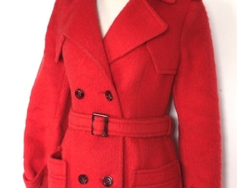 1970s Munich Olympic Peacoat // 1972  Olympic Games Coat // Bright Red Belted Loden Wool Coat // West Germany Blanket Coat