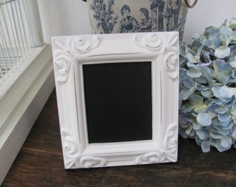Wedding Chalkboard Table Markers, Antique White Framed Wedding Place Card, Candy Bar Set of 10 Mini Chalkboards