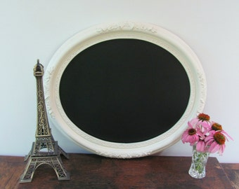 Ornate Oval Chalkboard,  Cream Vintage Framed Chalkboard, Wedding, Nursery Chalkboard