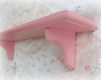 Vintage Wood Shelf,Pink- Peach Shabby Chic Wall Shelf, Girls Room Nursery Shelf
