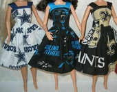 """Handmade 11.5"""" Fashion doll clothes - Your Choice -football dress - Cowboys, Panthers or Saints"""