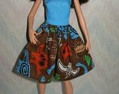 "Handmade 11.5"" fashion doll clothes - blue, green, orange and brown dinosaur dress"