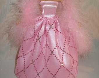"11.5"" Fashion Doll clothes - pink handmade gown with boa"