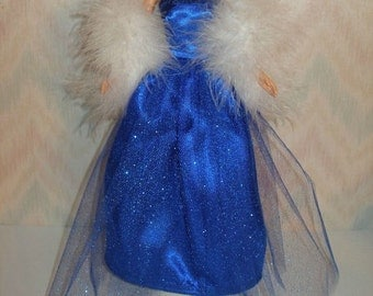 """Handmade 11.5"""" Fashion doll clothes - royal blue gown with boa"""