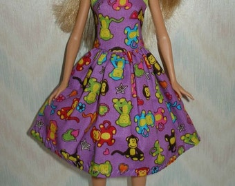 "Handmade 11.5"" fashion doll clothes -purple with monkeys print dress"