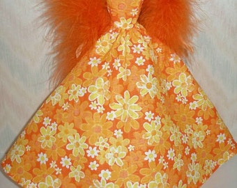 "Handmade 11.5"" fashion doll clothes - orange and white floral gown with orange boa"