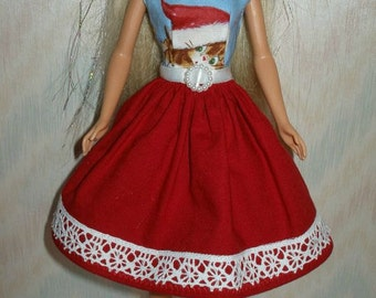 """Handmade 11.5"""" fashion doll clothes - red and blue  holiday kitten dress"""