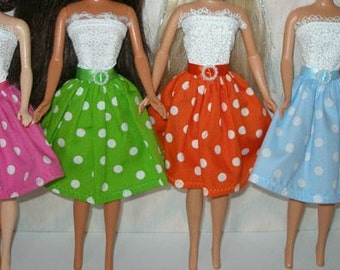 """Handmade 11.5"""" fashion doll clothes - Your choice - pink, green, orange, blue, yellow, red, navy or black --white with polka dot skirt dress"""