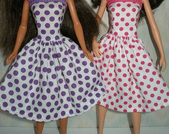 """Handmade 11.5"""" fashion doll clothes - Your Choice - Choose 1 - Purple or Pink dotted dress"""