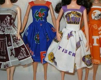 "Handmade 11.5"" fashion doll clothes - Your Choice - Choose 1 - Texas A & M, Florida Gators, LSU Tigers or Tennessee Vols"