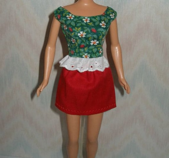 """Handmade 11.5"""" fashion doll clothes - skirt and top"""