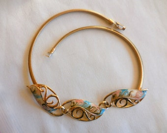 Vintage Runway Modernist Necklace 1980s  Swirled Enamel and Gold Snake Chain