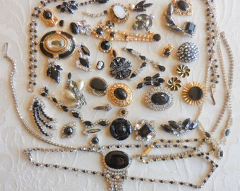Destash LOT Interesting Vintage RHINESTONE Pieces for Assemblage Repurpose Jewelry Making