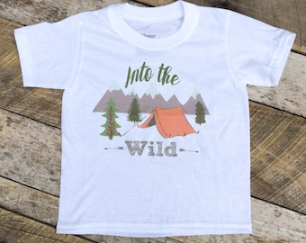 NEW Into the Wild T-Shirt, Toddler Boy Shirt, Camping Shirt, Wild Boy Shirt, Adventure Shirt, Toddler Boy Clothes, Graphic T-Shirt, Mountain